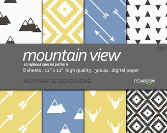 "Modern Digital Paper + Mountain View 088  + Scrapbook Quality Paper Pack (12 x 12""- 300 dpi) 8 sheet pack paper + Pastel"