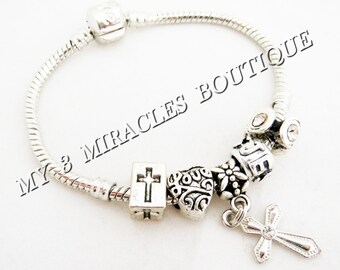 CROSS Charm Bracelet Silver Snake Chain European Style Beads Religious Girls First 1st Communion Teens Confirmation Graduation Gift