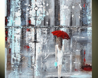GICLEE PRINT of Abstract Painting Girl Red Umbrella Large Art Home Decor Wall Decor Prints Gift City Tiffany -XL Sizes - Christine Krainock