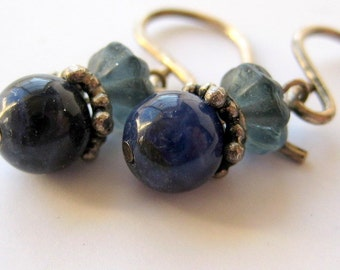 Tiny Azurite Earrings Sterling Silver Pierced