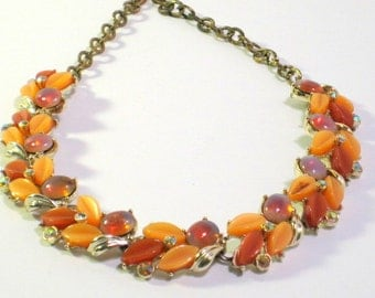 Thermoset Necklace Orange and Peach Rhinestones