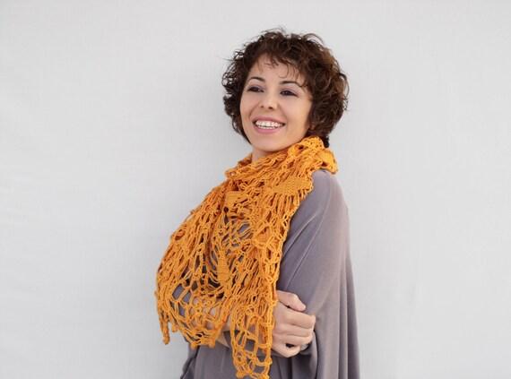 Winter Sale - Mustard Color Women Scarf - Mustard Bridal Shawl - Mustard Crochet Wrap, ready to ship