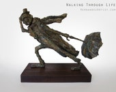 Walking Through Life - Handmade Bronze Sculpture, Limited Edition