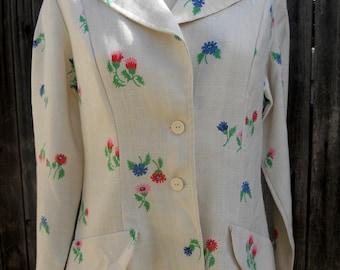Vintage 60s Floral Summer Blazer . Tailored Jacket Flowers . Large