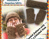 PDF Crochet Pattern Cabled Aran Headband and Fingerless Mitts