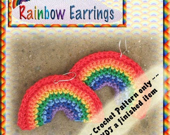 PDF Crochet Pattern Rainbow Earrings