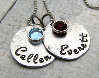 Personalized Necklace Birthstone - Hand Stamped Jewelry - Personalized Mom Jewelry - Mom Necklace - Gift for Her Mothers Day (100)