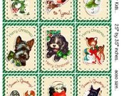 Digital Clipart, instant download, Vintage Christmas Cards or tags for Kids--Puppies, Reindeer, Gifts--8.5 by 11--Digital Collage Sheet 1924