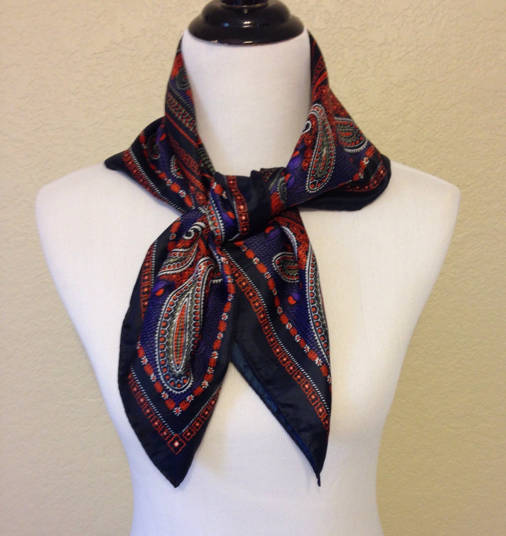 vintage paisley scarf in black orange purple and by