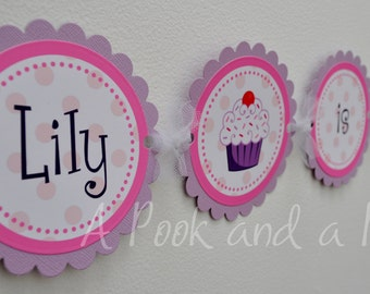 Cupcake Personalized High Chair Banner in Pink and Purple First Birthday Decoration