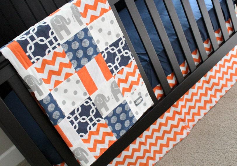 Custom crib bedding navy blue orange and grey elephant 2 - Navy blue and orange bedding ...