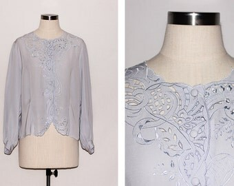 Vintage Embroidered Cut-out Grey Blouse