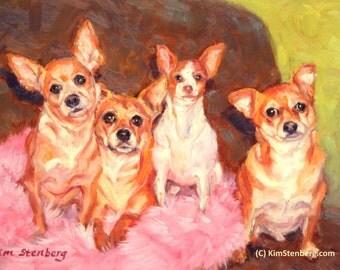 """9"""" x 12"""", Chihuahuas, Custom Pet Portrait, Multiple Portrait, Dog Portrait, Oil Painting, Portrait Commission, Kim Stenberg"""
