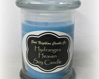 Hydrangea Heaven Soy Candle, 8 ounce, with fitted lid, Floral, Blue, Chalkboard Style Label