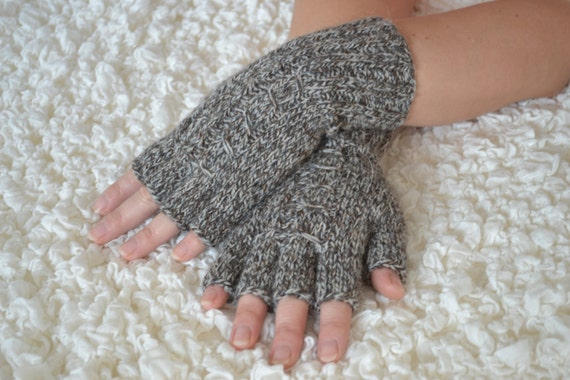 Hand-knitted half finger gloves by HandyDuo on Etsy