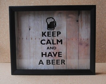 """Keep Calm and Have A Beer - Beer Bottle Cap 8"""" x 10"""" Shadow Box - Barnwood Background - Black Frame"""