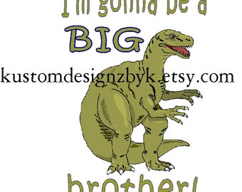 Dinosaur big brother iron-on shirt decal NEW by kustomdesignzbyk