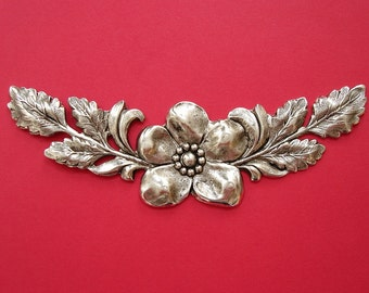 Large Branch  Leaf Flowers Embellishment Ox Silver over  Brass  Stamping Pendant .