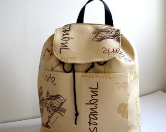 Beige  Backpack, Student Backpack,Paris ,Roma , Rome Backpack/Travel,School,Daily Backpack/Unisex Rucksack