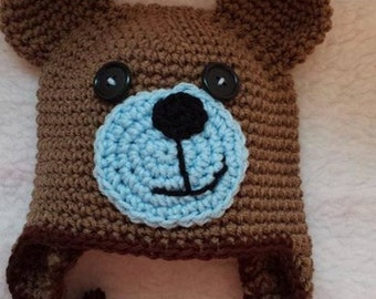 Teddy Bear earflap beanie with ties