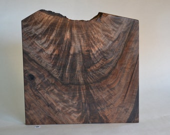 Exceptional marbleized, figured, large Oregon black walnut slab with one live edge to customize or enjoy as is.