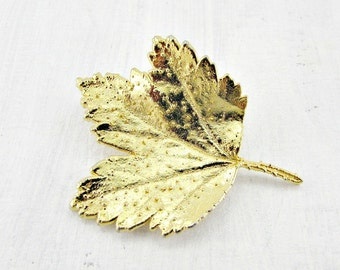 Vintage Gold Dipped Leaf Brooch Pin, AUSTRIA Brooch, Autumn Fall Leaf Brooch, 1970s Rustic Woodland Jewelry, Real Gold Maple Leaf Jewelry