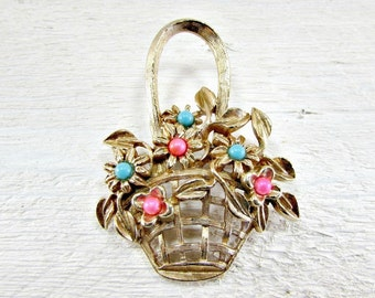 Vintage Easter Flower Basket Brooch Pin, Pink Blue Beaded Brooch, Gold Flower Floral Brooch, 1970s Cottage Chic Spring Easter Jewelry