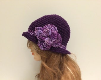SALE Crochet Cloche Flapper Hat - violet/MULTIPURPLE