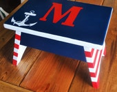 Nautical Themed Step Stool or Foot Stool-Red White and Blue with Anchor-Letter or Name Personalization