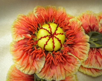 Red Yellow Ribbon Flower Millinery Applique