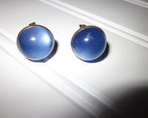 Vintage Anson Cuff Links Blue sapphire Lucite Cabochons Gold plated Cufflinks mens Formal Wear Accessories w/PAT NO