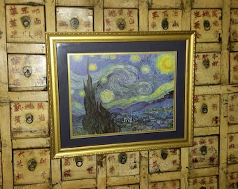 Art Starry Night by Van Gogh Gold Frame Double Mat Large Sized Wall Hanging Abstract Landscape Indigo & Gold
