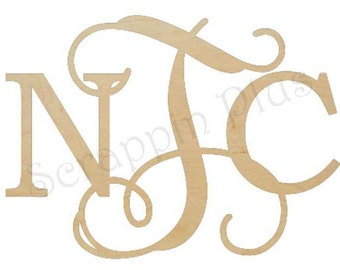 Diametric Unfinished Wooden Monogram - Unpainted Monogram