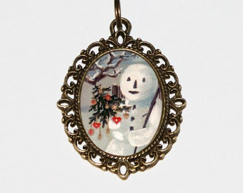 Snowman Necklace, Christmas Jewelry, Holiday Jewelry, Winter Necklace, Christmas Tree, Bronze Oval Pendant