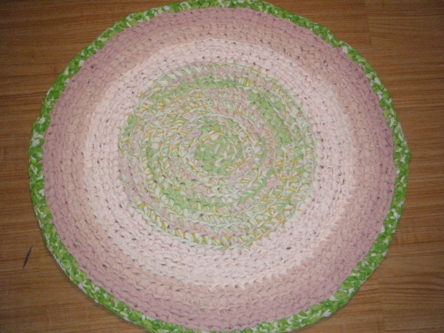 Crochet Pink And Lime Green Sweet Round Area Rug