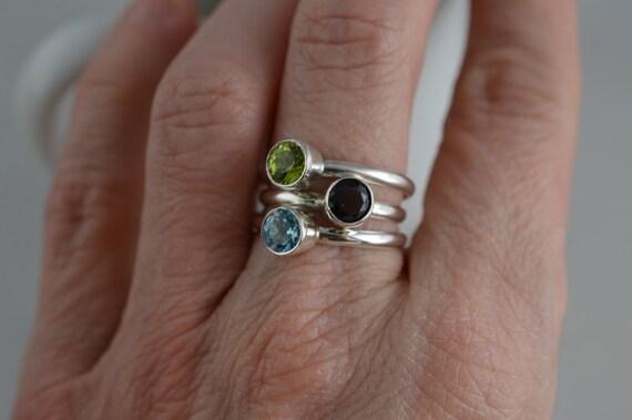 Sterling Silver Gemstone Ring - 5mm Silver Peridot Ring - August Birthstone Ring