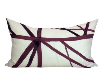 Channels lumbar pillow cover in Plum/Oatmeal
