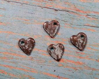 Ten (10) Dangle HEART 10mm Mykonos Green Patina Casting Charm or Pendant