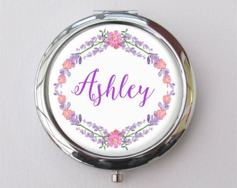 Personalized Bridesmaid Gift, Compact Mirror, Purse Mirror