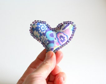 Fiber Art Heart Pin, Valentine Pin, Soft Sculpture Heart Brooch, Teacher Gift, Stocking Stuffer, Purple Heart Pin, Easter Basket Fillers