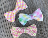 pastel bow tie - cotton bow - easter bow tie - yellow and pink tie - pink and green bow tie - easter ties for boys - pastel ties - pink bow