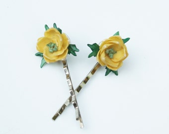 Yellow Rose Hair Pins - Bridal, Prom. Pageant