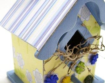 Daisy Blue Decoupaged Mini Birdhouse
