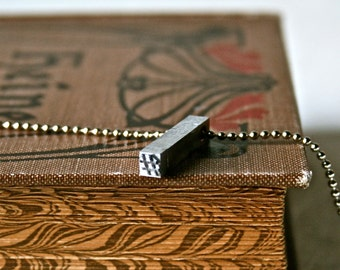 Hashtag Letterpress Pendant for Geekery Gift or Unisex Jewelry