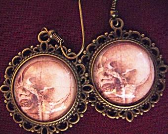 Bronze Dangle Earrings,    Gothic Da Vinci Wearable Art Image Earrings,   Womens Gift Handmade