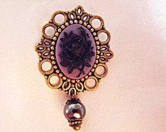 Bronze Cameo Brooch,  Black and Purple Rose Cameo With Pearl,  Womens Gift  Handmade
