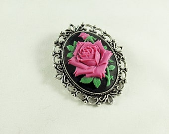 Silver Cameo Brooch Pin,  Victorian Pink Rose Cameo Large  Womens Gift  Handmade