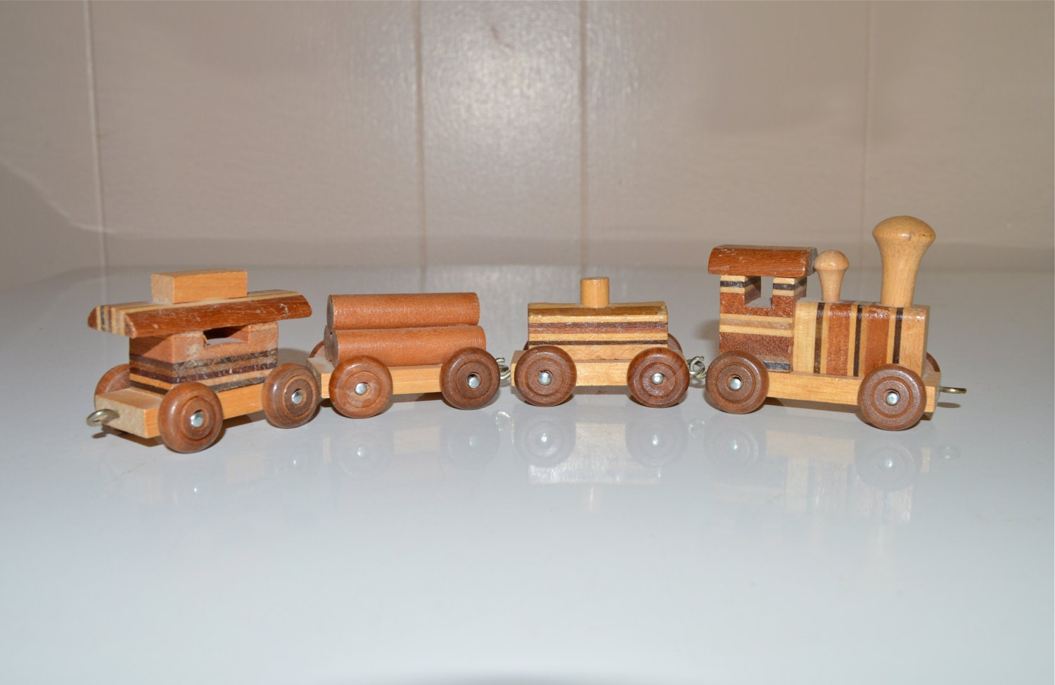 Wooden Toy Trains : Wood toy train piece engine cars caboose vintage