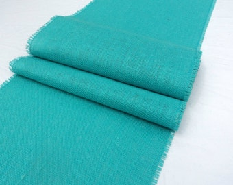 "12"" Wide Aqua Burlap Table Runner Pool Blue Table Runners Coastal Chic Home Decor Beach Wedding Decorations"
