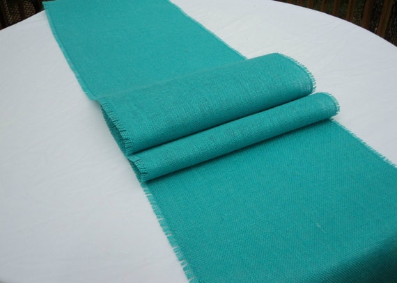 12 Wide Aqua Burlap Table Runner Pool Blue Table Runners